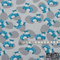 Jersey Coton Elasthanne Imprimé Petit Hippopotame Turquoise Souriant en Folie fond Tâcheté Perle