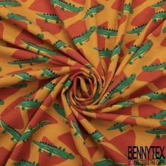 Jersey Coton Elasthanne Imprimé Petit Croccodile Rigolo Souriant en Folie fond Orange