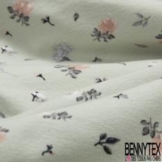 Jersey Coton Elasthanne Imprimé Petite Fleur Champêtre fond Blanc