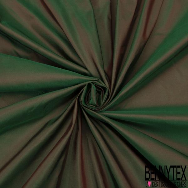 Taffetas de Soie sauvage Changeant Couleur Rouge vert