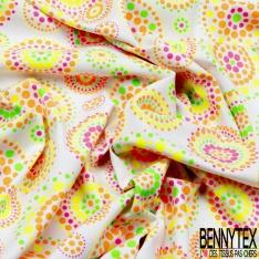 Jersey Coton Elasthanne Imprimé Petit Renard en Boule Souriant Kawai fond Pois Gris