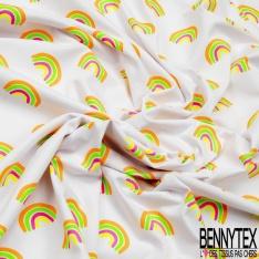 Jersey Coton Elasthanne Imprimé Mandala Coloris Fluo fond Marine