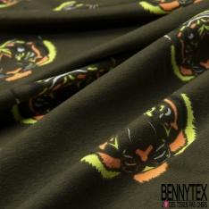 Jersey Coton Elasthanne Imprimé Tête de Tigre Coloris Fluo fond Kaki