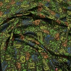 Jersey Coton Elasthanne Imprimé Manette Jeux Vidéo Coloris Fluo fond Marine