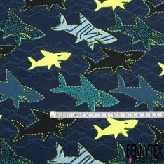 Jersey Coton Elasthanne Imprimé Planche de Skate Coloris Fluo fond Kaki