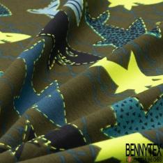 Jersey Coton Elasthanne Imprimé Requin Coloris Bleu et Jaune Fluo fond Kaki