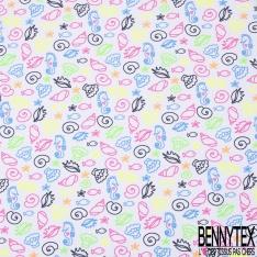 Jersey Coton Elasthanne Imprimé Fond Marin Coloris Fluo fond Blanc