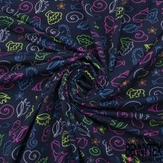 Jersey Coton Elasthanne Imprimé Fond Marin Coloris Fluo fond Marine