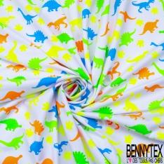 Jersey Coton Elasthanne Imprimé Dino Rigolo Coloris Fluo fond Blanc