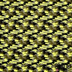 Jersey Coton Elasthanne Imprimé Treillis Jaune Fluo Gris Noir Kaki