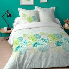 Parure Housse de Couette et 2 Taies Motif Tropicale Mandala Tampon ton Vert Blanc
