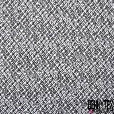 Coton Crétonne imprimé Motif étoile en forme géométrique noir blanc gris et beige