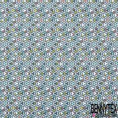 Coton Crétonne imprimé Motif étoile en forme géométrique corail jaune canard et cyan