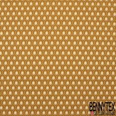 Coton Crétonne imprimé Motif bouquet floral japonisant ton moutarde