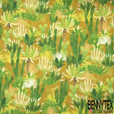 Coton Crétonne imprimé Motif plante tropical et cactus Fond ocre
