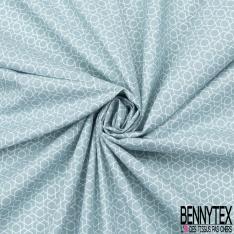 Coton Crétonne imprimé Motif forme géométrique Fond bleu clair