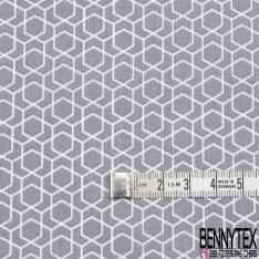 Coton Crétonne imprimé Motif forme géométrique Fond gris souris