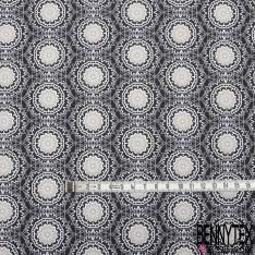 Coton Crétonne imprimé Motif mandala gris blanc et taupe Fond noir
