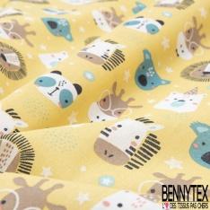 Coton imprimé motif têtes animaux fantaisies zèbres lion ours Fond jaune