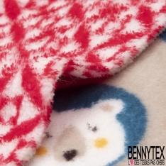 Peluche Imprimé Double Face Motif flocon de neige et tête d'animaux Fond Beige