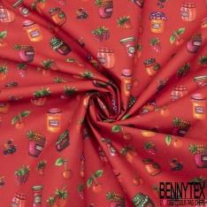 Coton imprimé Digital Motif confiture et fruit Fond rouge
