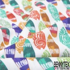 Coton imprimé Digital Motif planche de surf Fond blanc