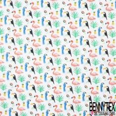 Coton imprimé Digital Motif toucan perroquet et flamant rose Fond blanc