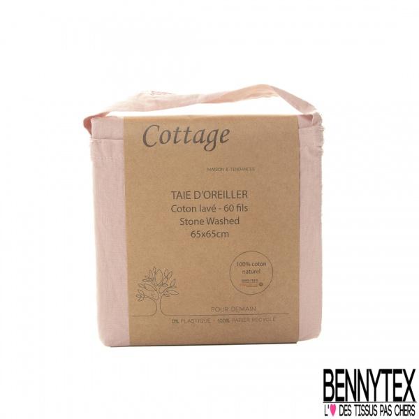Taie d'Oreiller Coton Naturel Lavé Anthracite Qualité Premium