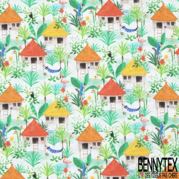Coton imprimé Digital Motif tropical et hutte Fond blanc