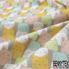 Coton imprimé Motif pattes de chien ton bleu et gris Fond blanc