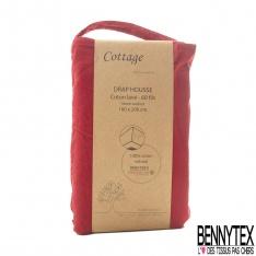 Drap Housse Coton Naturel Lavé Cerise Qualité Premium