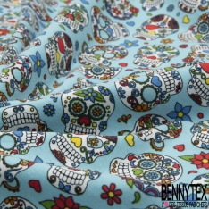 Jersey Coton Elasthanne Imprimé calavera fleuri Fond bleu ciel