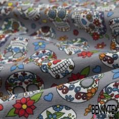 Jersey Coton Elasthanne Imprimé calavera fleuri Fond gris souris