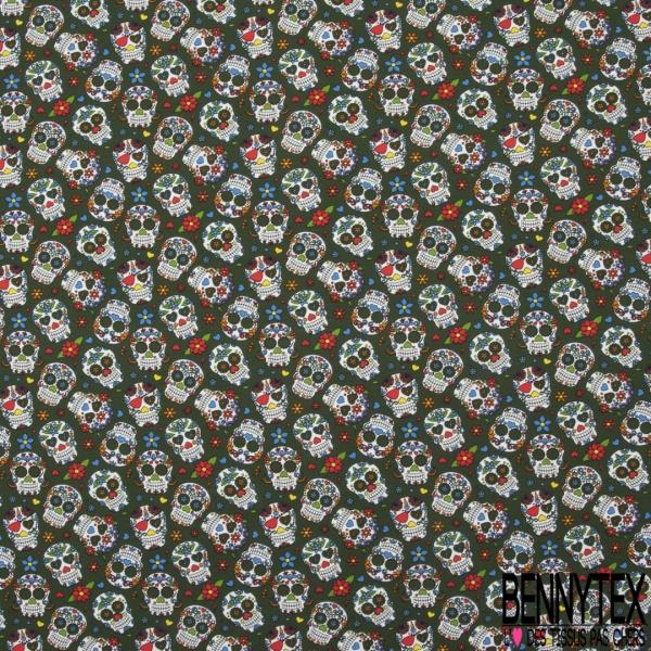 Jersey Coton Elasthanne Imprimé calavera fleuri Fond kaki