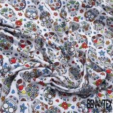 Jersey Coton Elasthanne Imprimé calavera fleuri Fond blanc