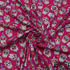 Jersey Coton Elasthanne Imprimé calavera fleuri Fond fuschia