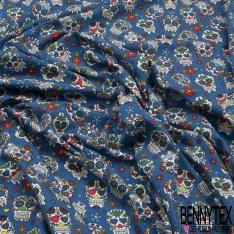 Jersey Coton Elasthanne Imprimé calavera fleuri Fond bleu roi matte