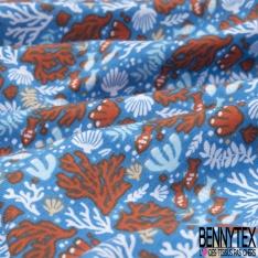 Jersey Coton Elasthanne Imprimé corail Fond azur