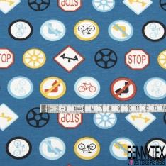 Jersey Coton Elasthanne Imprimé panneau de la route Fond marin