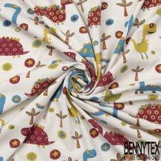 Jersey Coton Elasthanne Imprimé dinosaure palmier et étoile bleu vert et bordeaux Fond blanc cassé