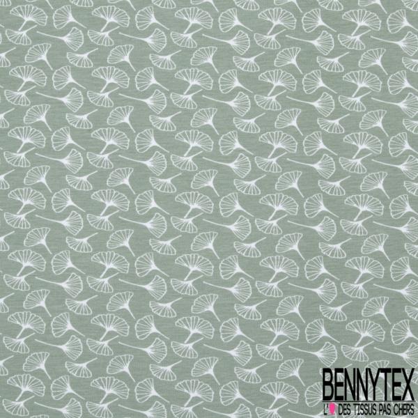 Jersey Coton Elasthanne Imprimé volubilis Fond vert amande