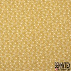 Jersey Coton Elasthanne Imprimé volubilis Fond ocre