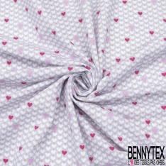 Jersey Coton Elasthanne Imprimé coeur rose et fuschia Fond gris perle