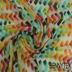 Mousseline Polyester Imprime Boomerang Multicolors fond Noir