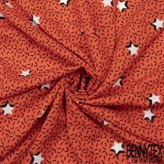 Fibrane Viscose Imprimé Motif trait et étoile Fond corail orangé