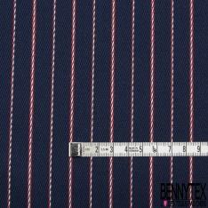 Coton Sergé Rayure rouge et marine