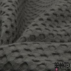 Coton Nid d'Abeille Piqué Bubble Gaufré XL Gris Anthracite