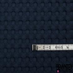 Coton Nid d'Abeille Piqué Bubble Gaufré XL Bleu Marine