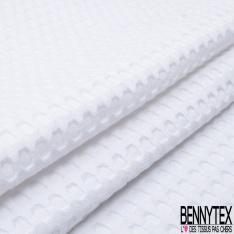 Coton Nid d'Abeille Piqué Bubble Gaufré XL Blanc Optique