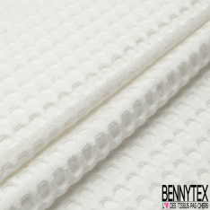 Coton Nid d'Abeille Piqué Bubble Gaufré XL Blanc Cassé